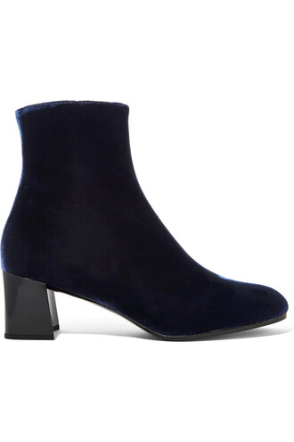 boots ankle boots velvet blue shoes