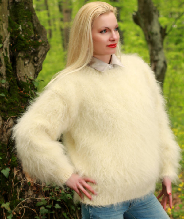 sweater hand knit made mohair blouse jumper pullover supertanya soft fluffy fluffy angora alpaca cashmere wool