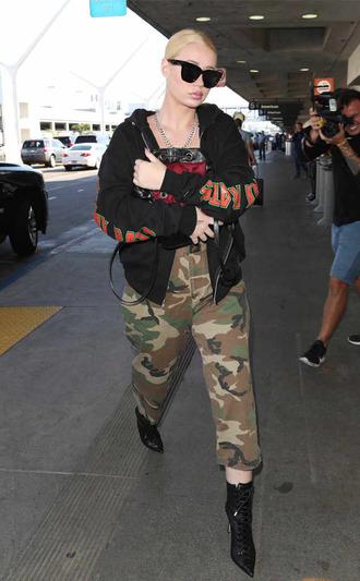 jacket hoodie camouflage camo pants iggy azalea sweatshirt