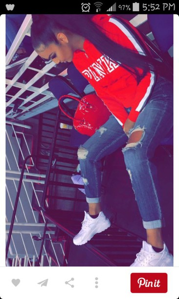 jacket shoes bag red bag louis vuitton pink by victorias secret pink sweater red sweater jeans red ripped jeans
