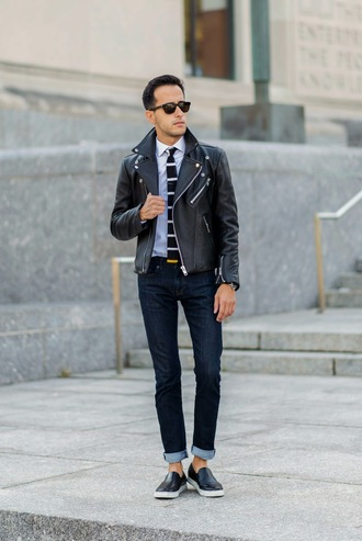 the metro man blogger jacket jeans jewels menswear leather jacket perfecto tie stripes vans mens jacket