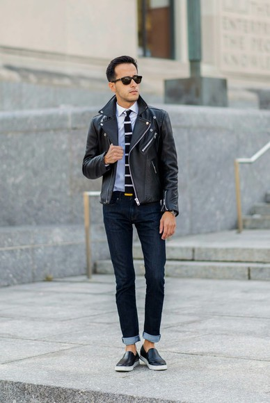 vans blogger jeans stripes jewels the metro man jacket menswear leather jacket perfecto tie