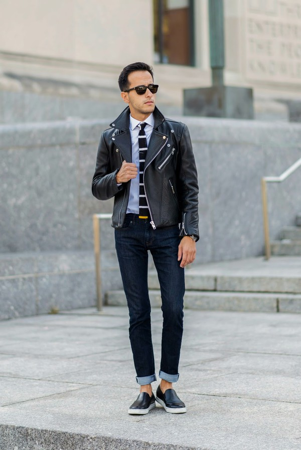 the metro man blogger jacket jeans jewels menswear leather jacket perfecto tie stripes vans mens jacket white shirt