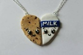 jewels,friends,necklace,jewelry,food,boyfriend,bff,friendship necklace,cookies and milk,sweet,cookie,milk,bbf,lovely,nick-nack,hair accessory,milk and cookie neck less,valentines day gift idea