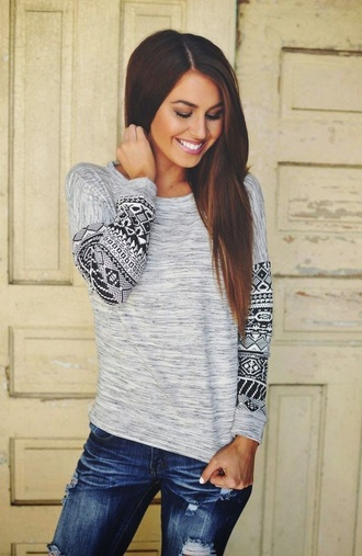 shirt gray shirt tribal pattern long sleeves sweater aztec