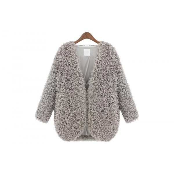 Big woolen fuzzy coat