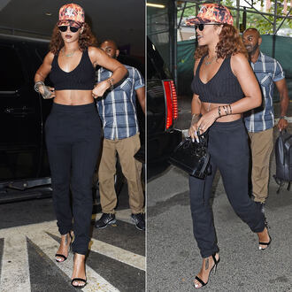 pants rihanna sandals crop tops hat all black everything top