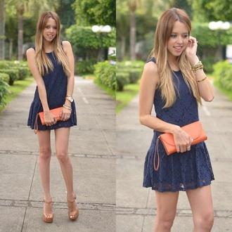 dress blue girly cute blue dress day dress mini dress summer dress jewels bag orange beige shoes high heels watch bracelets