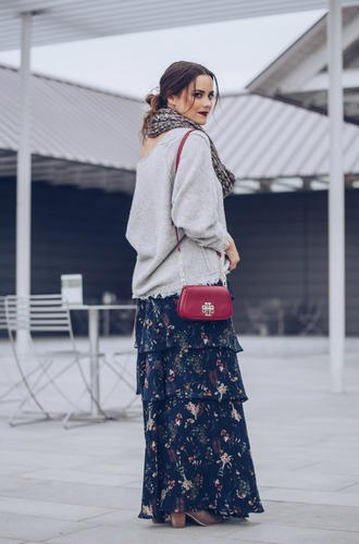 thestyledfox blogger sweater skirt scarf shoes jewels grey sweater red bag long skirt maxi skirt shoulder bag