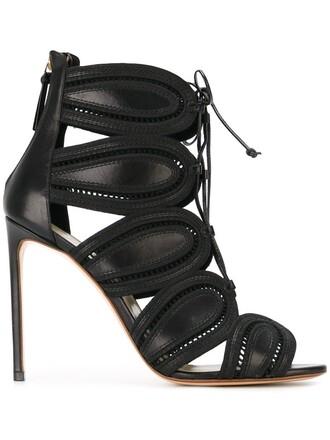 heel high sandals black shoes
