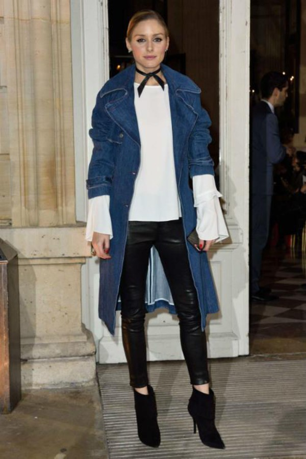 Blouse: coat, denim jacket, olivia palermo, blogger, pants ...