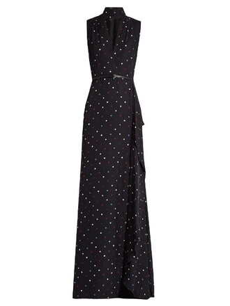 gown print silk black dress