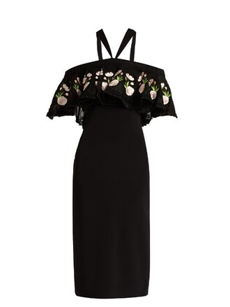 dress embroidered dress embroidered print black