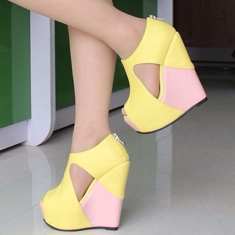 shoes yellow wedge rose romantic colorblock
