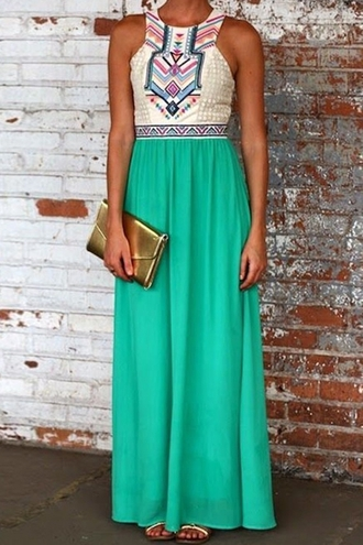 dress green splicing geometric