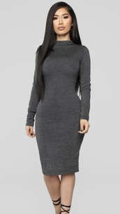 dress,grey dress,long sleeve dress
