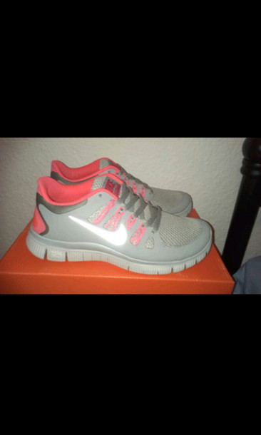 shoes nike free run trainers pink grey nike just do it