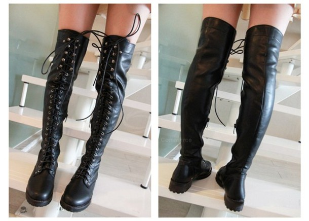 Shoes: boots, lace up, black boots, over the knee - Wheretoget