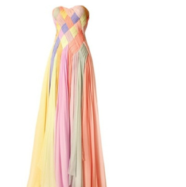 dress rainbow braid braided long sweetheart neckline prom formal ...