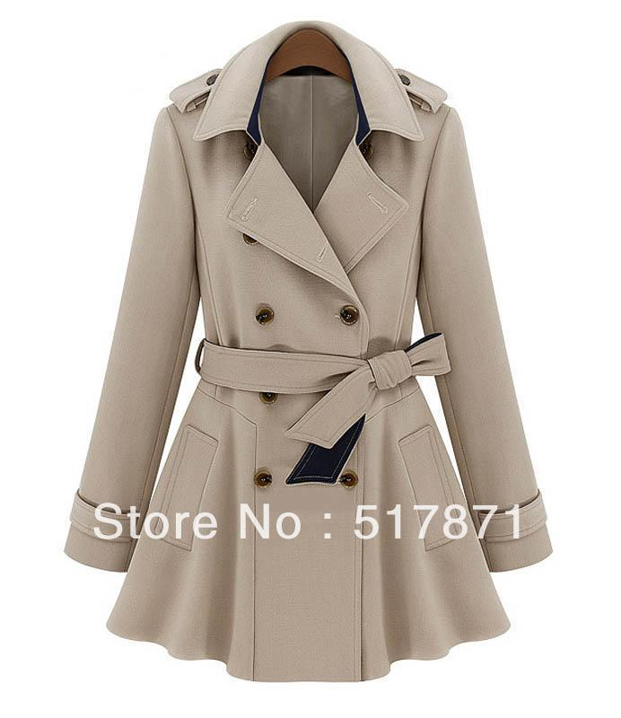 Free Fall 2013 Women Designer Fashion Trench Slim Coat For Womens Belts Double Breasted Coats Sashes Hooded Denim Ruffles-inTrench from Apparel & Accessories on Aliexpress.com