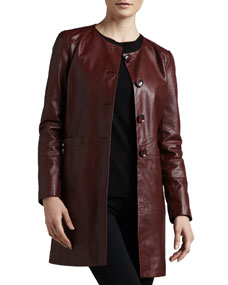 Basic Long Leather Jacket