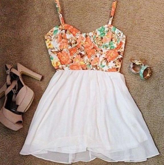 cute dress prom prom dress flower print flower dress bandoo summerclothes summer outfits summer dress wedges skirt clothes