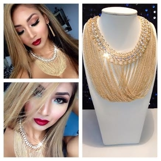 Gold Layered Tassel & Link Chain Bejeweled Necklace Set