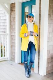 lemon stripes,blogger,jacket,sweater,coat,jeans,shoes,hat,wellies,cap,yellow coat