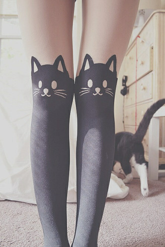 cats overknee socks awesomness tights blouse