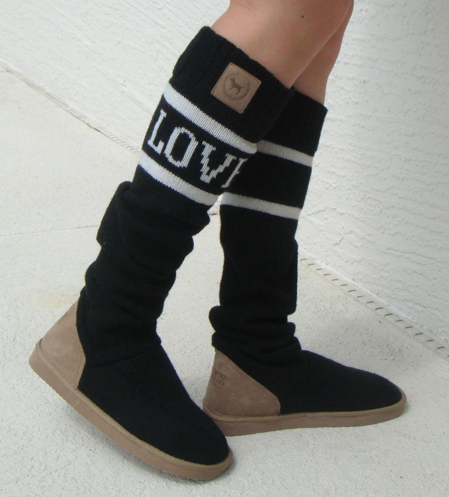 Victoriau0026#39;s Secret Love Pink Boots Slipper Socks Slouchy ...