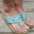 Santorini Sea Blue Embellished Thong Cork Wedges – Amazing Lace