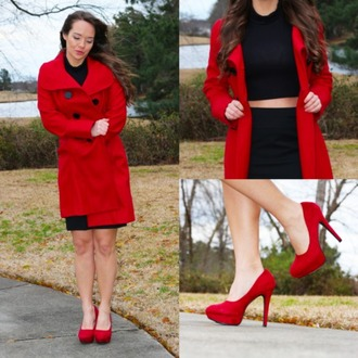 shoes red coat long coat red long coat valentines valentine valentines day vday v-day black turtleneck crop tops black turtleneck cropped turtleneck pencil skirt skirt red suede heels red suede pumps red heels red pumps heels pumps valentines day gift idea black turtleneck crop top
