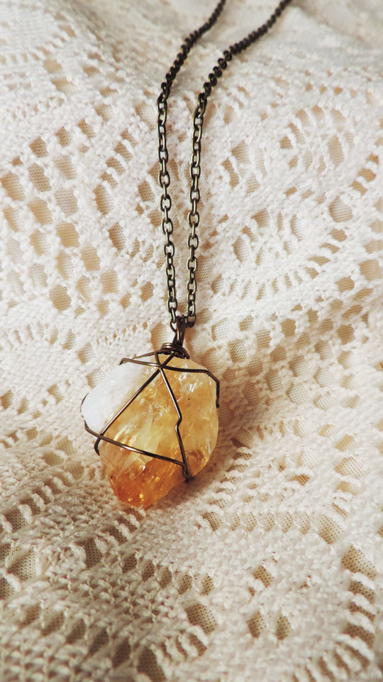 raw citrine crystal necklace, wire wrapped crystal curiosity, bohemian and nature inspired keepsake