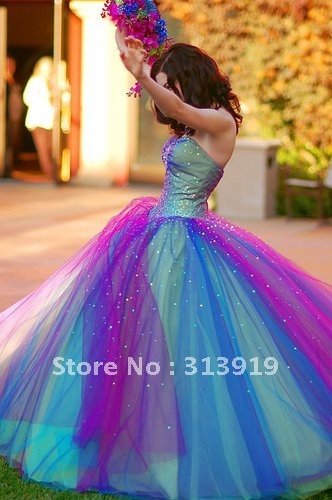 free shipping multi colors tulle fashion ball gown  prom dress 2014 hot sale-in Prom Dresses from Apparel & Accessories on Aliexpress.com