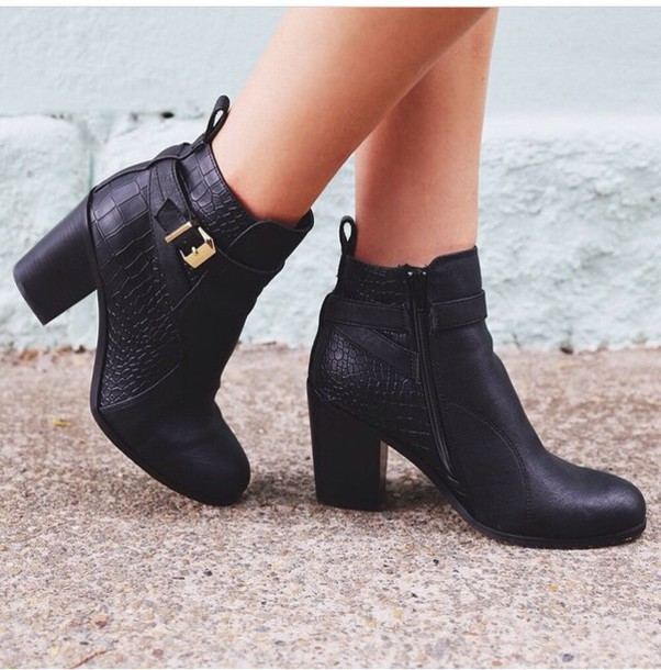 shoes boots leather fashion style black heels gold heels fancy and casual