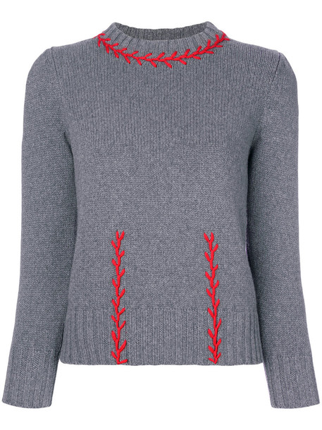 sweater embroidered women wool grey