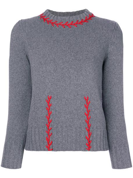 Alexander Mcqueen sweater embroidered women wool grey