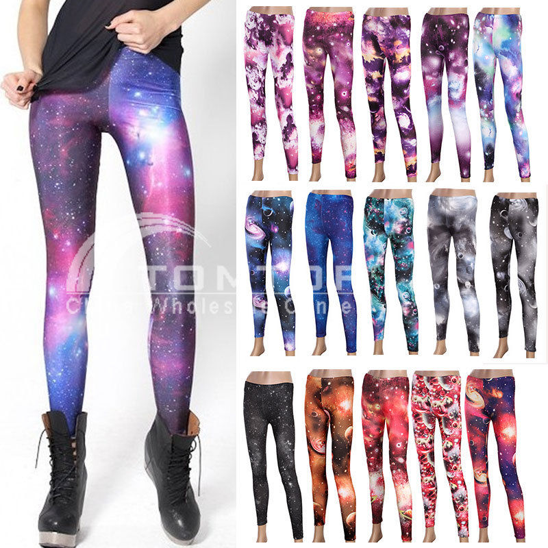 Chic Galaxy Printed Leggings Women Skinny Stretch Pants Footless Tights 15 Color | eBay