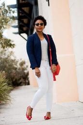 pinksole,blogger,sunglasses,jewels,jacket,t-shirt,jeans,shoes,bag,shoulder bag,blazer,ballet flats,white pants