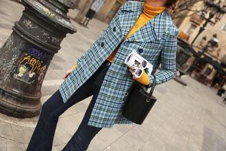 my daily style blogger coat jeans sunglasses bag spring outfits handbag turtleneck sweater