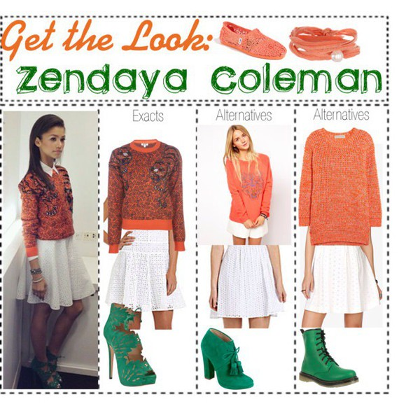 skirt fashion orange high heels style blouse sweater jumper zendaya teen style jewels lace skirt teen fashion cute high heels white skirts