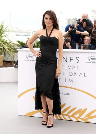 dress gown sandals cannes penelope cruz black dress bustier dress high low dress