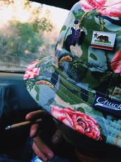 hat,bucket hat,floral,flowers,pink roses,cute,floral bucket hat,schoolboy q,california republic,chuck originals,bucket hats,hair accessory