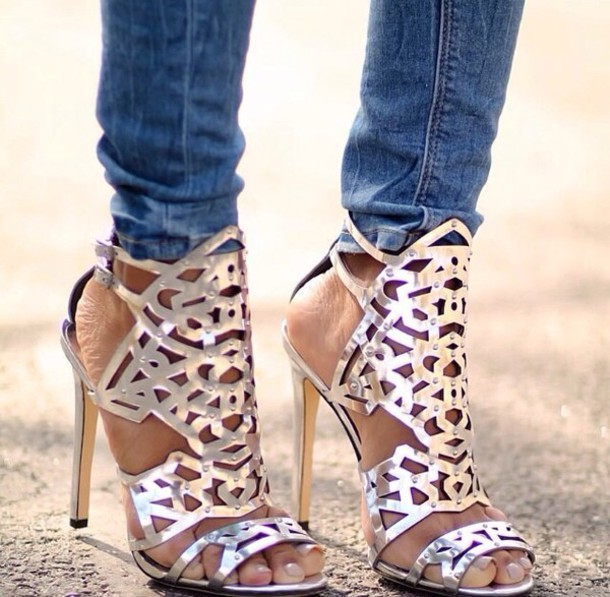 shoes high heels metallic sandals cute high heels