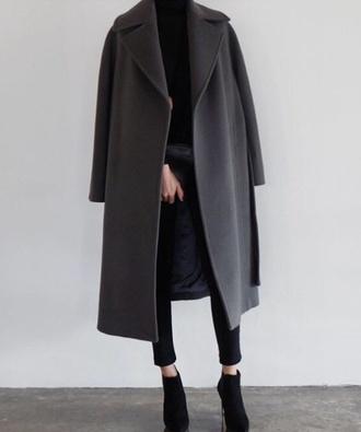 coat charcoal winter coat minimalist classy long coat
