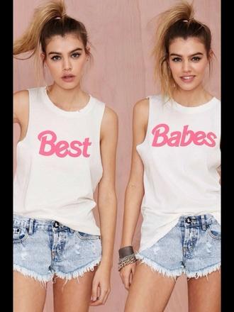 t-shirt best babes best babes pink white short style fashion