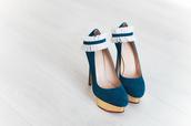 shoes,blue high heels,teal high heels,gold platforms,white frill,white,teal,blue,gold,high heels,tumblr,heels,platform high heels