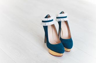 shoes blue high heels teal high heels gold platforms white frill white teal blue gold high heels tumblr heels platform high heels