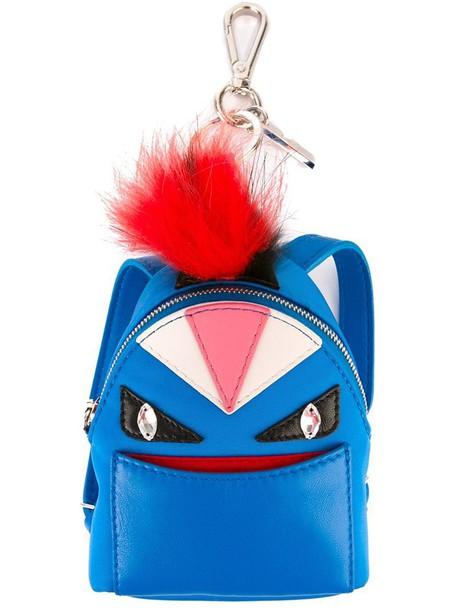 Fendi bag charm fur fox women bag backpack blue