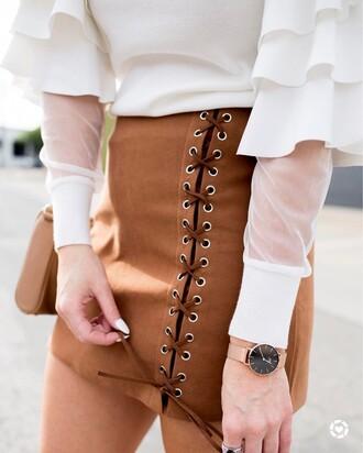 skirt tumblr mini skirt brown skirt lace up lace up skirt watch gold watch accessories accessory